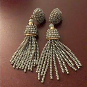 NWOT sparky gray tassel earrings with gold